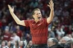 Eric Musselman reacts during the Razorbacks game against Mississippi State on Saturday, February 15, 2020.