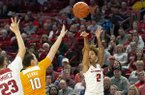Arkansas guard Alexis Tolefree (2) shoots during a game against Tennessee on Thursday, Feb. 20, 2020, in Fayetteville.