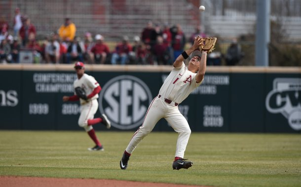 Freshman second baseman Robert Moore catches a ball during the Razorbacks win over Eastern Illinois on Sunday, February 16, 2020. Moore and the Razorbacks beat the Bulldogs 7-5 today.