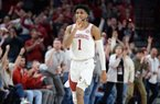 Arkansas guard Isaiah Joe celebrates Friday, Feb. 21, 2020, after hitting a 3-point basket during the second half to seal the Hogs' 78-68 win over Missouri in Bud Walton Arena in Fayetteville.
