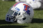 Louisiana Tech helmet during the second half of an NCAA college football game against Kansas State in Manhattan, Kan., Saturday, Sept. 19, 2015. (AP Photo/Orlin Wagner)