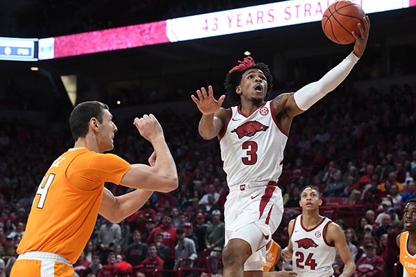 Arkansas' Desi Sills (3) goes up for a shot during a game against Tennessee on Wednesday, Feb. 26, 2020, in Fayetteville.