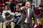 Mississippi State head coach Vic Schaefer yells at the officials during the first half of an NCAA college basketball game against West Virginia, Sunday, Dec. 8, 2019, in Starkville, Miss. (AP Photo/Vasha Hunt)