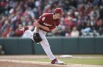 Arkansas' Patrick Wicklander (33) throws a pitch, Saturday, February 22, 2020 at Baum-Walker Stadium in Fayetteville. Wicklander is slated to start Arkansas' second game in Houston against Texas.