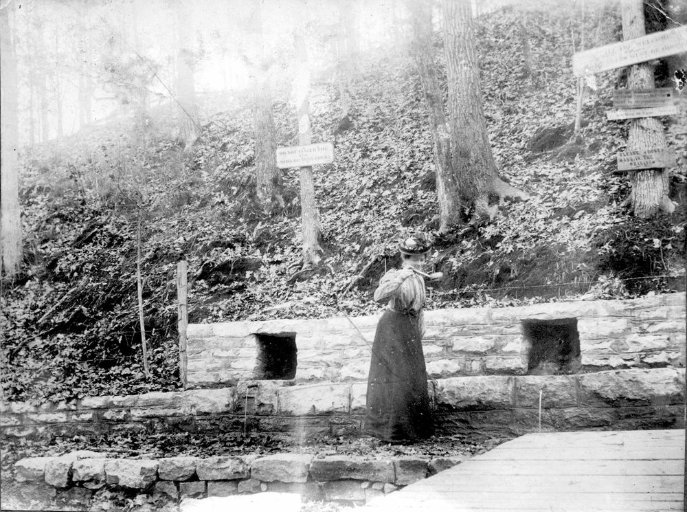 """Two of the three springs that compose Electric Springs are shown in this picture from about 1902. One sign says, """"Do not finger the moss or shrubbery,"""" and another says, """"Please don't wash in the basins."""" (Courtesy Missouri State University/Domino Danzero Collection)"""