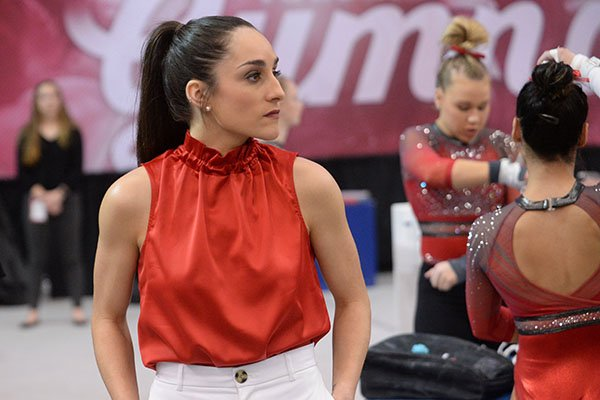 Arkansas coach Jordyn Wieber directs her gymnasts Friday, Feb. 7, 2020, during the Razorbacks' meet with Georgia in Barnhill Arena in Fayetteville.