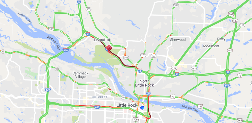 A traffic map as an I-40 wreck closes lanes Feb. 27.