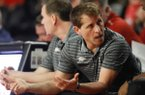 Arkansas coach Eric Musselman speaks with his staff during the team's NCAA college basketball game against Georgia in Athens, Ga., Saturday, Feb. 29, 2020. (Joshua L. Jones/Athens Banner-Herald via AP)