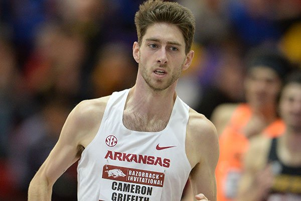 Arkansas' Cameron Griffith competes Saturday, Feb. 1, 2020, in the mile run during the Razorback Invitational in the Randal Tyson Track Center in Fayetteville.
