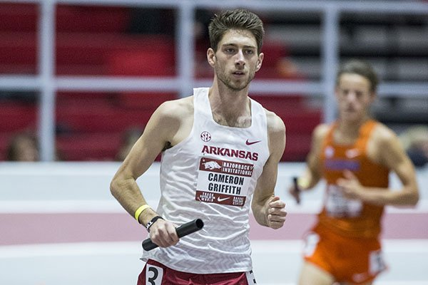Arkansas' Cameron Griffith is shown during the Razorback Invitational on Friday, Jan. 31, 2020, in Fayetteville.