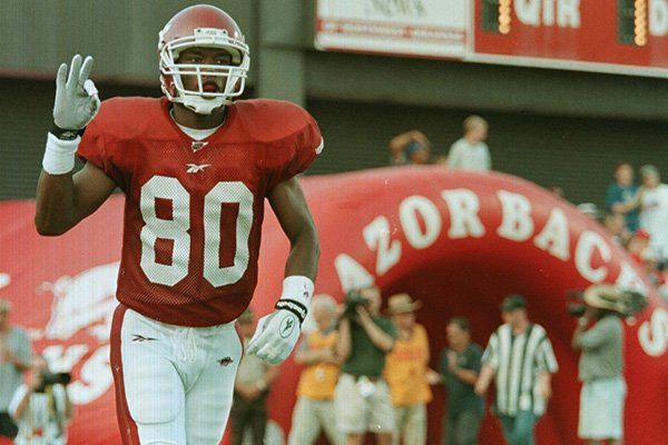 Arkansas receiver Anthony Lucas reacts after scoring a touchdown during a game against Southwestern Louisiana on Saturday, Sept. 5, 1998, at Razorback Stadium in Fayetteville.
