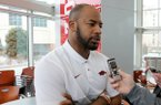 Sam Carter, an assistant coach with the Arkansas football team, speaks with members of the media Thursday, February 6, 2020, inside the Fred W. Smith Football Center on the campus in Fayetteville. Ten football assistants participated in the interview process.