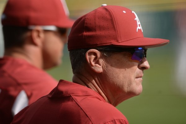 Arkansas coach Dave Van Horn looks toward the field on Tuesday, March 3, 2020, during the Razorbacks' loss against Illinois State at Baum-Walker Stadium in Fayetteville. Visit nwaonline.com/200304Daily/ for today's photo gallery.