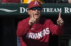 Arkansas coach Dave Van Horn signals from the dugout during a game against South Alabama on Friday, March 6, 2020, in Fayetteville.