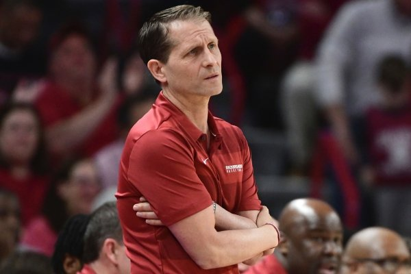 Arkansas coach Eric Musselman reacts on the sidelines against LSU during the first half of an NCAA college basketball game Wednesday, March 4, 2020, in Fayetteville, Ark. (AP Photo/Michael Woods)