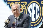 SEC Commissioner Greg Sankey announces Wednesday, March 11, 2020, that fans will not be allowed in the arena to watch NCAA college basketball games in the SEC tournament in Nashville, Tenn., starting Thursday. The Southeastern Conference joined the rest of the Power Five leagues and announced that only family and essential personnel would attend its men's and women's tournament basketball games. 