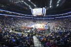 The crowd is shown at Bridgestone Arena during the SEC Tournament on Wednesday, March 11, 2020, in Nashville, Tenn.