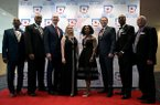 (From left) Ike Forte, John Tate, Jim Counce, Tamey Moore Harrison of the All American Redheads, Veronica Campbell Brown, Gus Malzahn, Anthony Lucas and Ron Marvel, the newest inductees to the Arkansas Sports Hall of Fame on Friday, March 13, 2020.