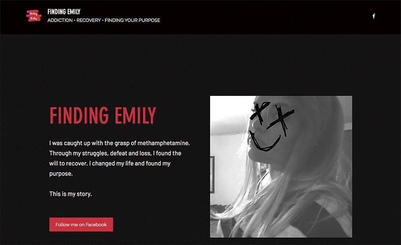 A screenshot of Emily's blog.