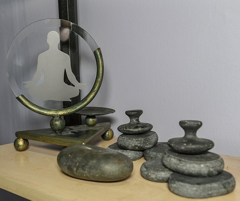 Trinkets inside local Massage Therapist Catherine Flocken's work space at at Younger Salon, 810 Central Ave. Suite G, are shown on February 25, 2020. -Photo by Grace Brown of The Sentinel-Record