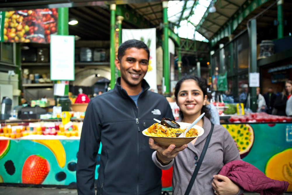 Borough Market, one of Londons numerous food halls and markets, can be a thrifty dining spot.