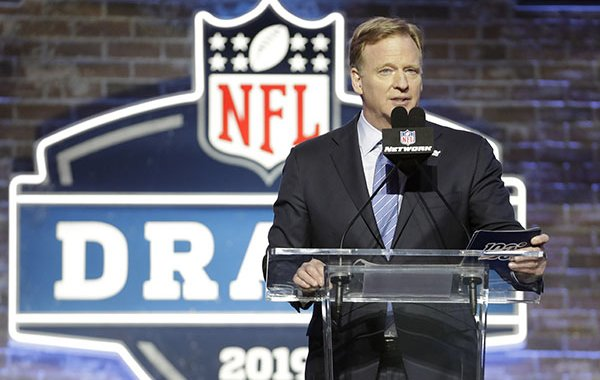 NFL Commissioner Roger Goodell speaks ahead of the first round at the NFL football draft, Thursday, April 25, 2019, in Nashville, Tenn. (AP Photo/Steve Helber)