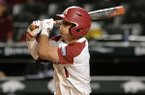 Arkansas second baseman Robert Moore singles Tuesday, March 10, 2020, Grand Canyon during the inning at Baum-Walker Stadium in Fayetteville.