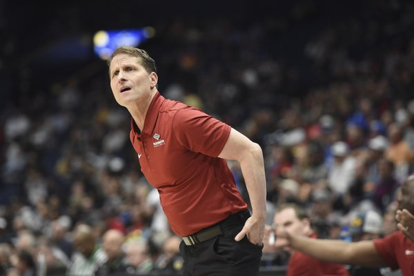 Arkansas head coach Eric Musselman reacts, Wednesday, March 11, 2020 during a basketball game at Bridgestone Arena in Nashville, Tenn.