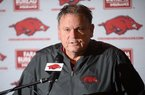 Arkansas coach Sam Pittman speaks Wednesday, Dec. 18, 2019, during a press conference to discuss the early signing period at the Fred W. Smith Football Center on the University of Arkansas in Fayetteville. Pittman talked to the media Friday about the end of spring practice.
