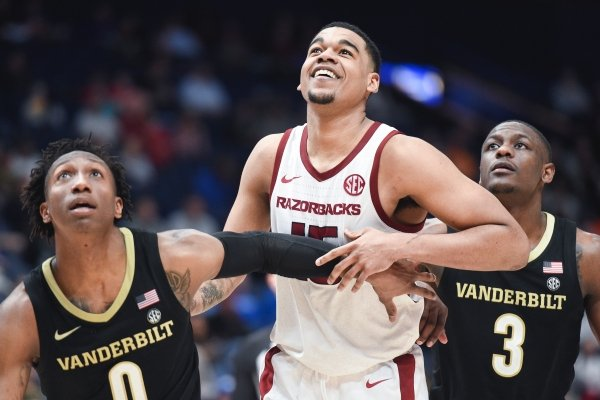 Mason Jones watches as a teammate attempts a free throw on Wednesday, March 11, 2020 during a basketball game at Bridgestone Arena in Nashville, Tenn, against Vanderbilt in the SEC Tournament.