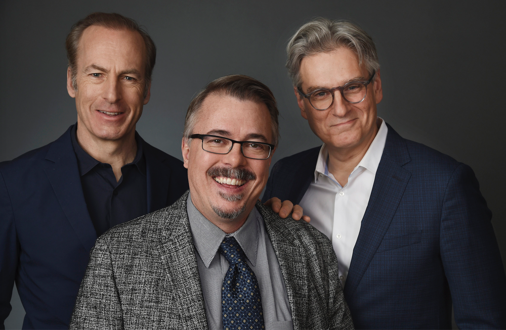 Bob Odenkirk (from left) plays Saul Goodman on the AMC drama series Better Call Saul. Vince Gilligan and Peter Gould are co-cre- ators and executive producers of the series.