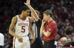 Guard Jalen Harris played two seasons at Arkansas after transferring from New Mexico and red- shirting his  rst year with the Razorbacks, but he decided Tuesday to enter the transfer portal as a graduate transfer. (Special to the NWA Democrat-Gazette/David Beach)