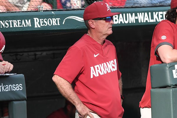 Arkansas coach Dave Van Horn is shown during a game against Grand Canyon on Wednesday, March 11, 2020, in Fayetteville. The Razorbacks won 10-9 to give Van Horn his 700th victory at the school.