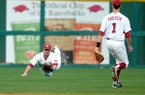 Arkansas' Matt Vinson makes a diving catch during a game against Mississippi State on Friday, March 29, 2013, in Fayetteville.