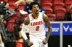New Mexico's Vance Jackson reacts after scoring against San Jose State during the second half of a Mountain West Conference tournament NCAA college basketball game Wednesday, March 4, 2020, in Las Vegas. (AP Photo/Isaac Brekken)