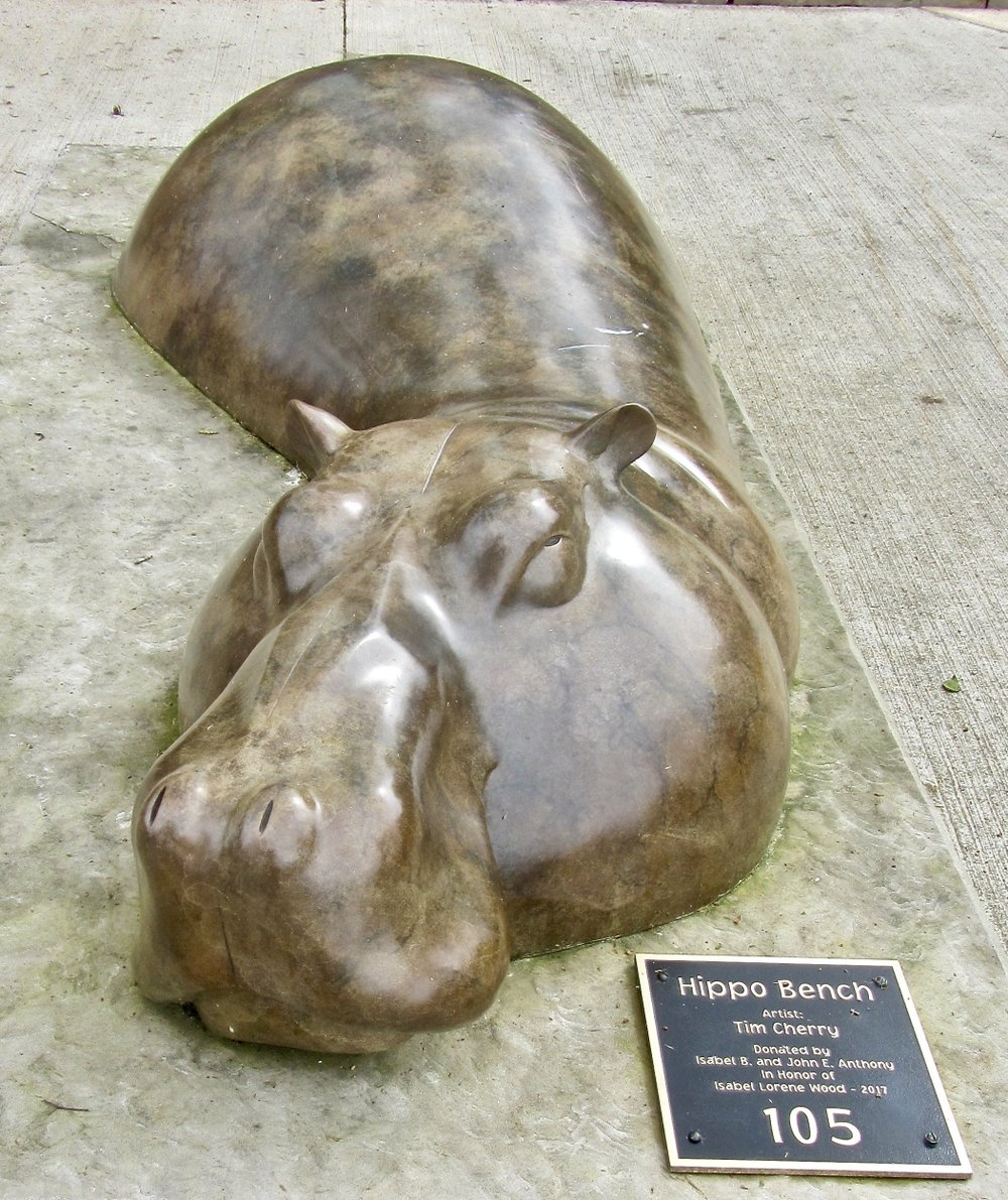 Tim Cherrys Hippo Bench, is among his whimsical works featuring a hippopotamus.