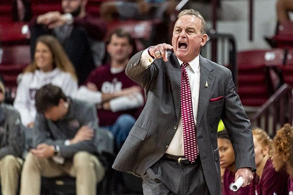 Mississippi State head coach Vic Schaefer yells at the refs during the first half of an NCAA college basketball game against West Virginia, Sunday, Dec. 8, 2019, in Starkville, Miss. (AP Photo/Vasha Hunt)