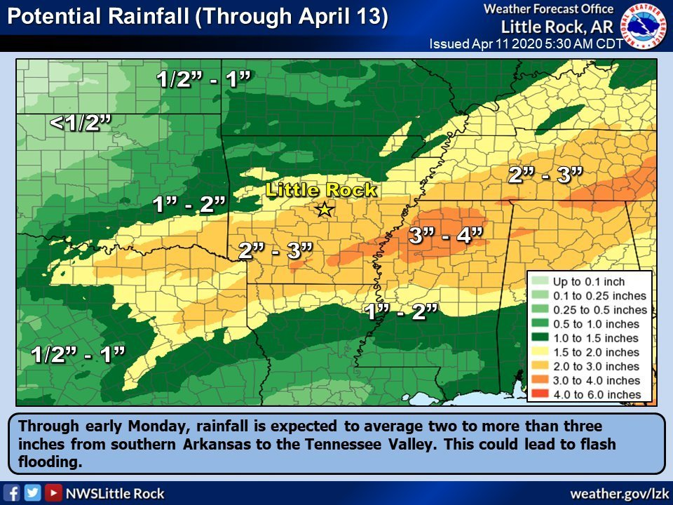 Over three inches of rainfall is possible from southern Arkansas to the Tennessee Valley, according to this National Weather Service graphic.