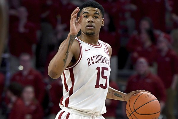 Arkansas guard Mason Jones (15) against LSU during the first half of an NCAA college basketball game Wednesday, March 4, 2020, in Fayetteville. Jones has declared for the NBA Draft. (AP Photo/Michael Woods)