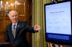 Gov. Asa Hutchinson talks about the steps needed to be taken before opening the state back up during the daily press briefing on Friday, April 17, 2020, at the state capitol in Little Rock.