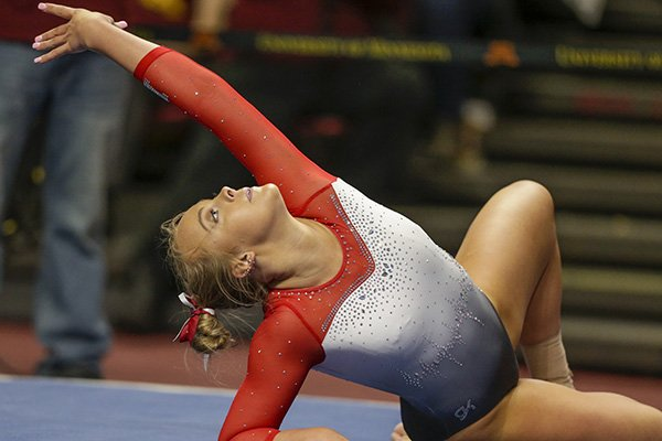 Nebraska's Abby Johnston does floor exercise against Minnesota during an NCAA gymnastics meet on Sunday, Feb. 16, 2020 in Minneapolis. (AP Photo/Andy Clayton-King)