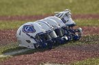 A row of Arkadelphia football helmets are shown prior to a game against Benton on Friday, Sept. 6, 2019, in Benton.
