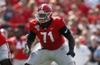 Georgia offensive lineman Andrew Thomas (71) is shown in action during the first half of an NCAA college football game against the Murray State Saturday, Sept. 7, 2019, in Athens, Ga. (AP Photo/John Bazemore)