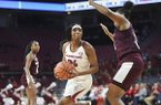 Arkansas' Taylah Thomas (24) looks to shoot during a game against Texas A&M on Thursday, Jan. 2, 2020, in Fayetteville.