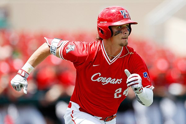 Houston's Lael Lockhart Jr. (24) runs down the first base line during an UNLV at University of Houston NCAA college baseball game, Sunday, May 5, 2019, in Houston. (AP Photo/Aaron M. Sprecher)