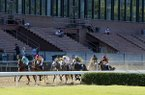 Charlatan ridden by jockey Martin Garcia leads the pack as they race past the empty grandstands during the first division of the Arkansas Derby on Saturday, May 2, 2020, at Oaklawn in Hot Springs.