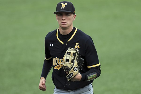 Wichita State's Brady Slavens in action during an NCAA college baseball game against Cincinnati, Sunday, April 28, 2019, in Cincinnati. (AP Photo/Aaron Doster)