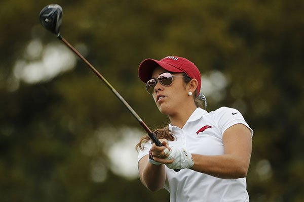 Former Arkansas golfer Maria Fassi is shown during the Augusta National Women's Amateur golf tournament on Saturday, April 6, 2019, in Augusta, Ga. Fassi is among the golfers whose academic scores helped Arkansas' women's team earn public recognition from the NCAA for the 2018-19 school year. (AP Photo/David Goldman)