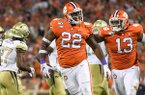 Clemson defensive lineman Xavier Kelly (22) celebrates after recovering a fumble during a game against Georgia Tech on Thursday, Aug. 29, 2019, in Clemson, S.C.