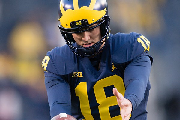 Michigan punter George Caratan warms up prior to a game against Wisconsin on Saturday, Oct. 13, 2018, in Ann Arbor, Mich.